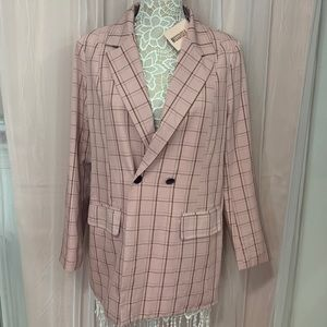 A pink co ord plaid oversized blazer!